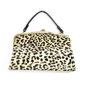 Vintage Faux Leopard Vinyl 60s Handbag